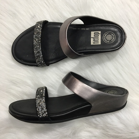 3bc5e19e5bbda0 Fitflop Shoes - FitFlop Banda Roxy Slide Pewter Black Leather